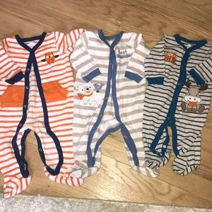 3 x Koala Baby Footed Onsies (size 3-6 Months)